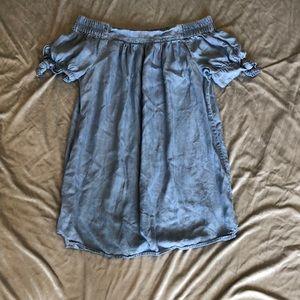Blue Off The Shoulder Sleeve Dress